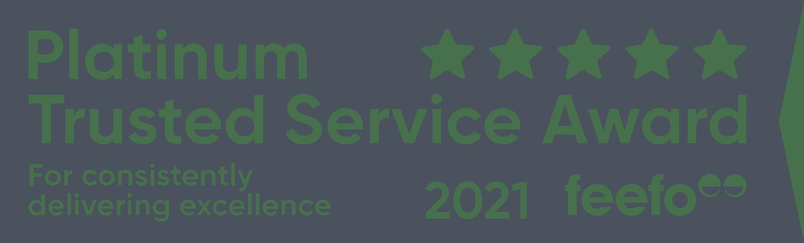 Feefo 2021 platinum trusted service member